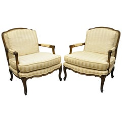 Pair of Baker French Country Provincial Louis XV Style Bergère Armchairs