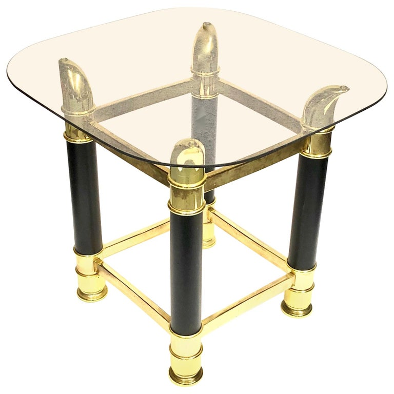 Italian Midcentury Brass and Glass Side Table, 1970s
