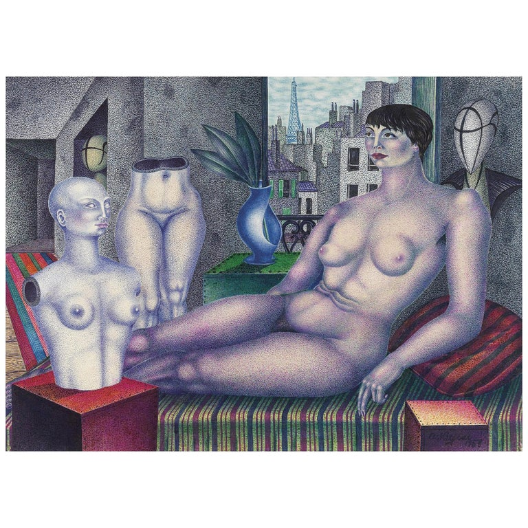 In the Atelier, after Expressionist Oil Painting by Art Deco Artist