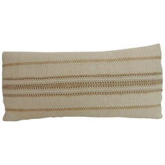 Vintage Linen Bolster Decorative Pillow with Vintage Jute Trims