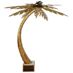 1970s Lighting Palm Tree in Gilded and Polished Brass, Maison Jansen in Paris