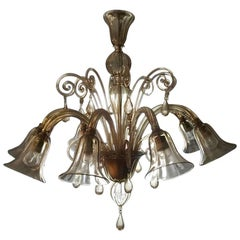 Murano Blown Glass Chandelier Light Gold Color Eight Lights Neoclassic, 1960s