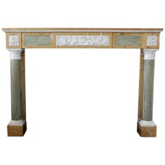 19th Century Empire Style Fireplace in Jaune de Sienne and Green Marble