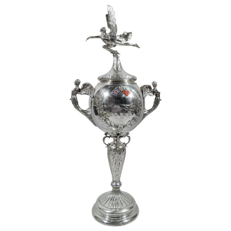English Art Deco Sterling Silver Hydroplane Trophy Cup