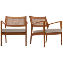 Pair of Swedish Beech and Cane Lounge Chairs by Karl Erik Ekselius