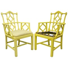 Pair Fretwork Chinoiserie Hollywood Regency Chairs Chinese Chippendale Armchairs