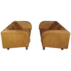 Rare Pair of Two-Seat Sofas in Cognac Leather Designed by Jørgen Gammelgaard
