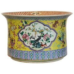 Large Hand-Painted Yellow Jardinière
