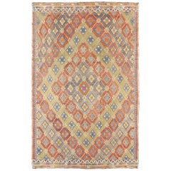 Geometric Diamond Vintage Turkish Kilim Rug, Bright and Colorful
