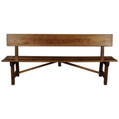 Midcentury Pine Bench from France, circa 1970
