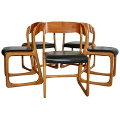 5 Baumann Traineau Sledge Chairs in Their Original Leather