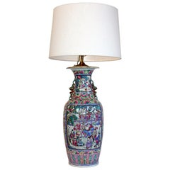Large Hand-Painted Asian Vase Lamp