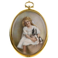 Early 20th Century Miniature Portrait Painting of Young Girl with Terrier Dog