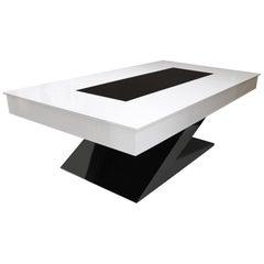 Modern Design Dining/Billiard Snooker Pool/Ping-Pong Table in Black White & Blue