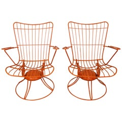 Pair of Mid-Century Modern Homecrest Bottemiller Outdoor Lounge Chairs