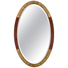French Antique Oval Mirror, Art Deco, circa 1925