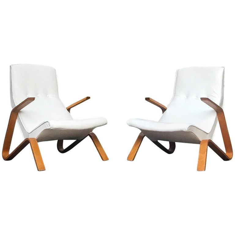 Vintage Pair of White Leather Eero Saarinen Grasshopper Lounge Chairs for Knoll