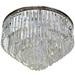 Spectacular Five-Tier Chrome & Mirrored Crystal Chandelier