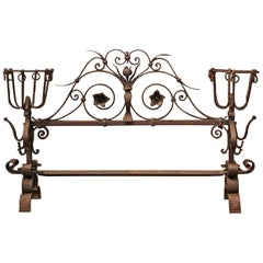 Important 18th Century French Gothic Wrought Iron Fireplace Screen with Landiers