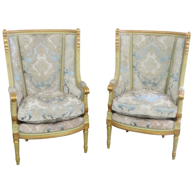 Pair of Louis XVI Style Paint Decorated Wing Back Chairs For Sale