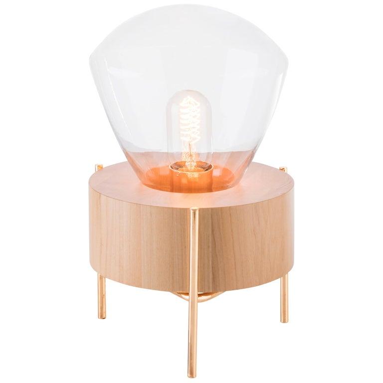 Table Lamp Lampadari #2, Brazilian Wood, Glass For Sale