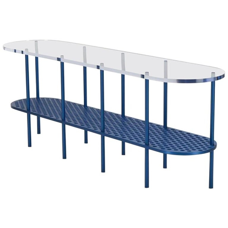 Miami Console in Blue Anodized Aluminum and Polished Acrylic by Jonathan Nesci