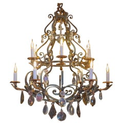 Important Wrought Iron Chandelier, in Green and Golden Part, 19th Century