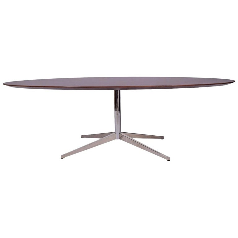 Oval Rosewood Table or Desk by Florence Knoll