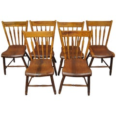 6 Antique American Colonial Farmhouse Windsor Country Dining Chairs Restored