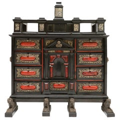 Flemish Cabinet from Antwerp, Ebony Nickel and Bronze, 17th Century