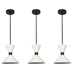'Monarch' Pendant Lamp in Oil-Rubbed Bronze and White Enamel, Blueprint Lighting