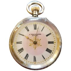 19th Century Swiss Ladies L Excelsior Silver Pocket Watch
