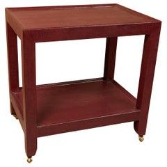 """Burgundy Snakeskin Side Table  or """"Telephone Table"""" by Karl Springer"""