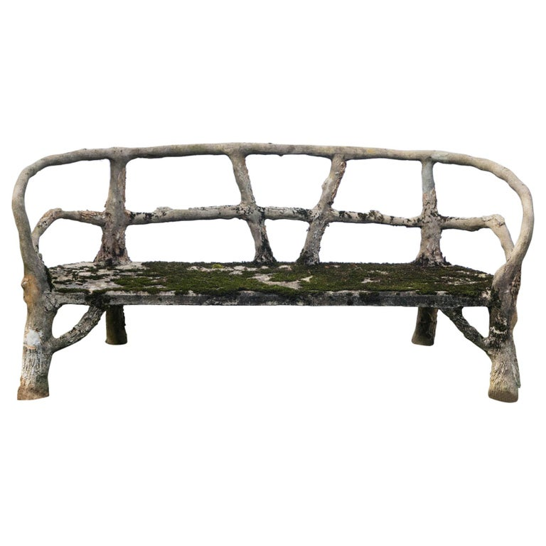 Curved Back Faux Bois Bench For Sale
