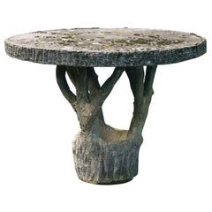 French Round Faux Bois Garden Table