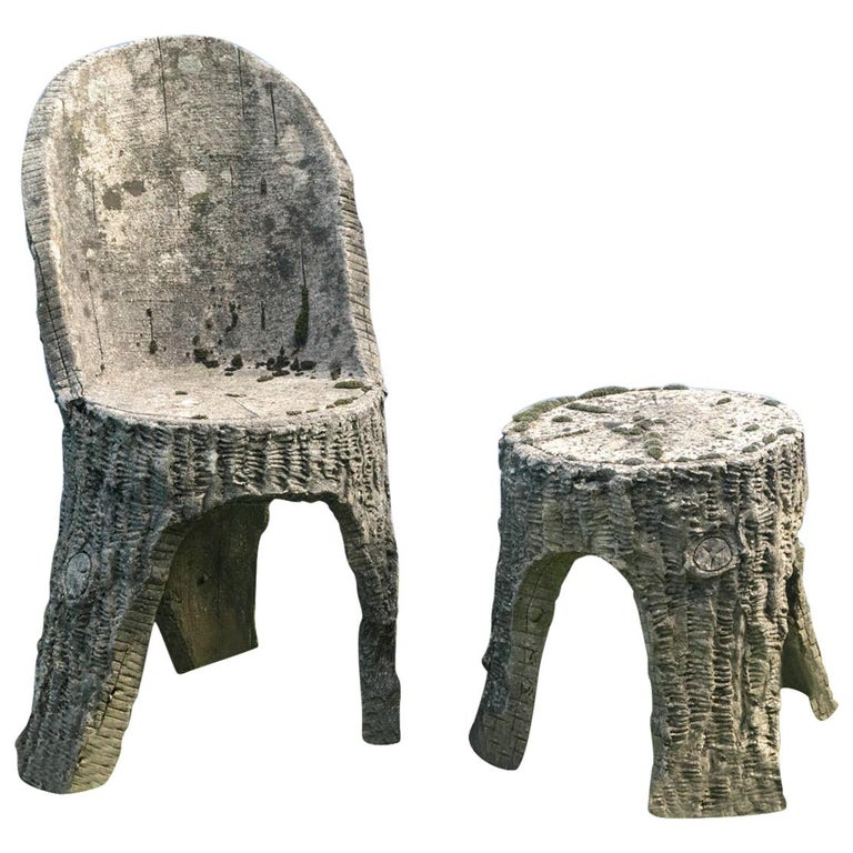 Faux Bois Chair and Stool For Sale