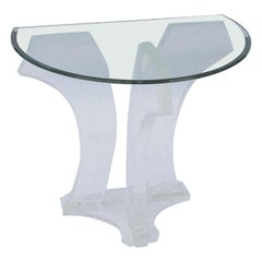 Jeffrey Bigelow Clear Lucite Pair of Demilune Console Tables Signed Dated 1978