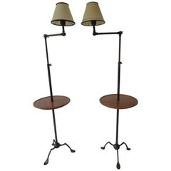 Pair of Metal Pole Lamps with Round Wood Trays