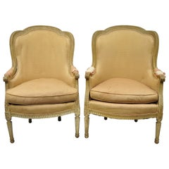Pair of Louis XVI Style Distress Painted Bergère Armchairs