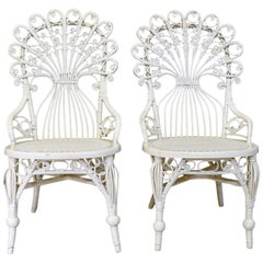 Pair of Victorian Wicker Peacock Chairs, American, circa 1880