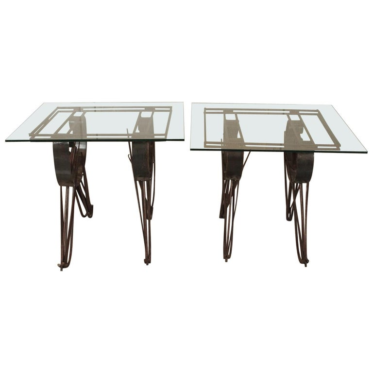 Pair of Handmade Wrought Iron Side Tables