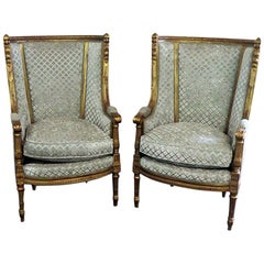 Pair of Louis XVI Style Bronze Mounted Wing Back Chairs mann. Forest