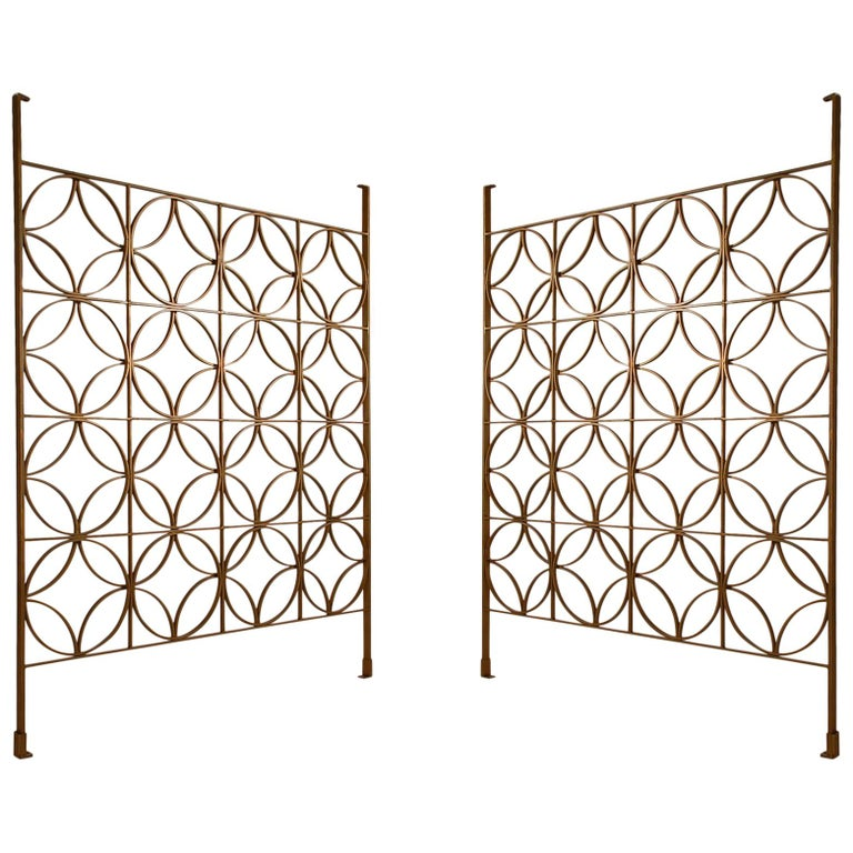 Decorative Mid-Century Modern Architectural Iron Brass Room Divider or Screen