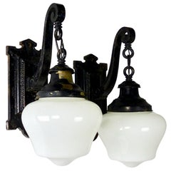 Cast Iron Exterior Wall Sconces, circa 1900