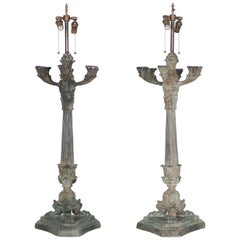 Hollywood Regency Verdigris Bronze Lamps