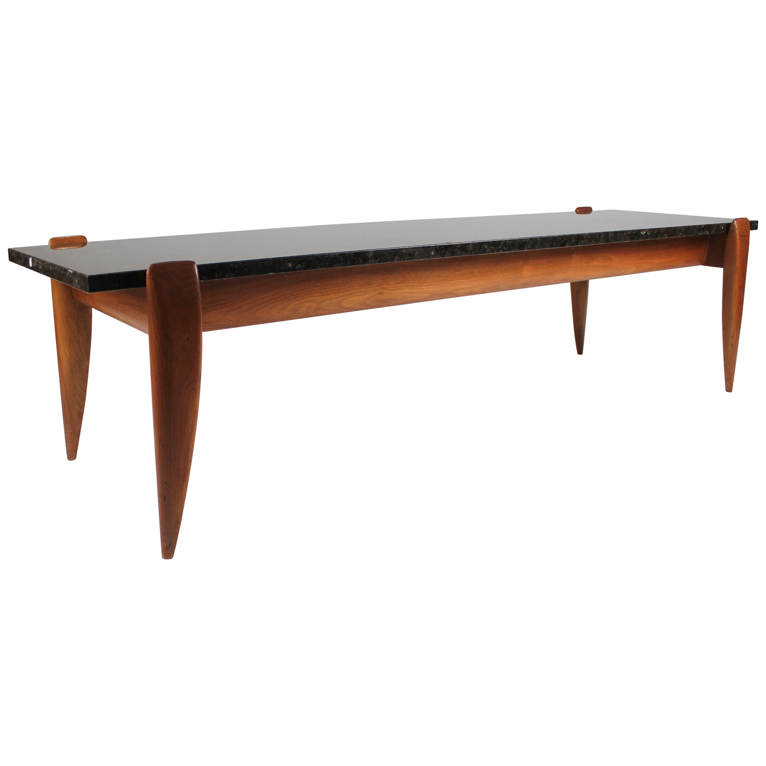 Gio Ponti for Singer and Sons Italian Walnut and Exotic Marble Coffee Table