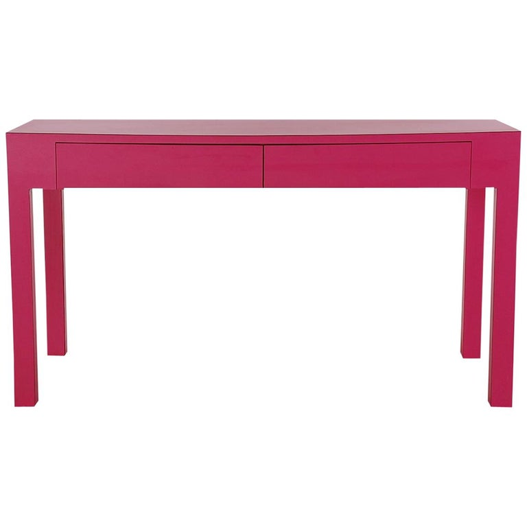 Mid-Century Modern Parsons Console Table or Desk in Hot Pink or Fuschia Laminate
