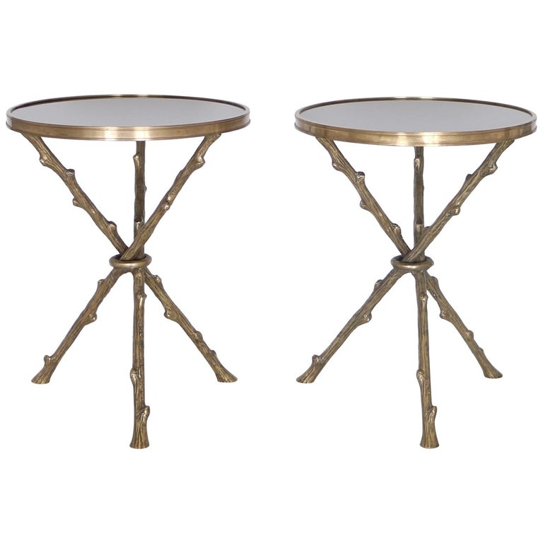 Maison Baguès French Hollywood Regency Faux Bamboo Side Tables