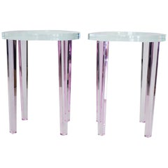Round Side Tables in Pink Lucite