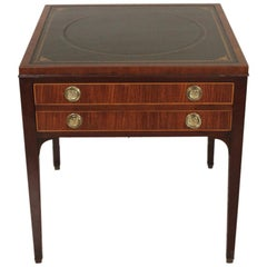 Kittinger Leather Top Mahogany One Drawer Table